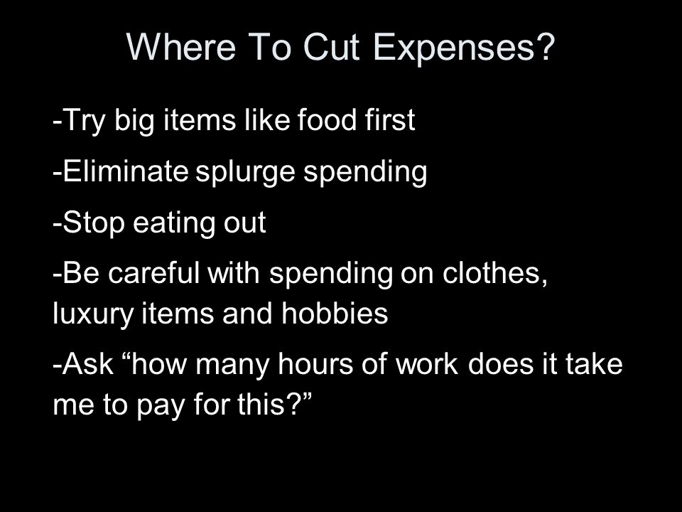 Where To Cut Expenses.