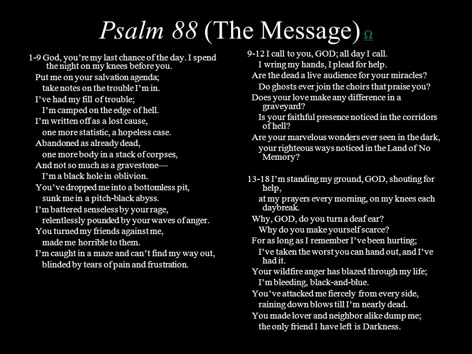 Psalm 88 (The Message) ΩΩ 1-9 God, youre my last chance of the day.