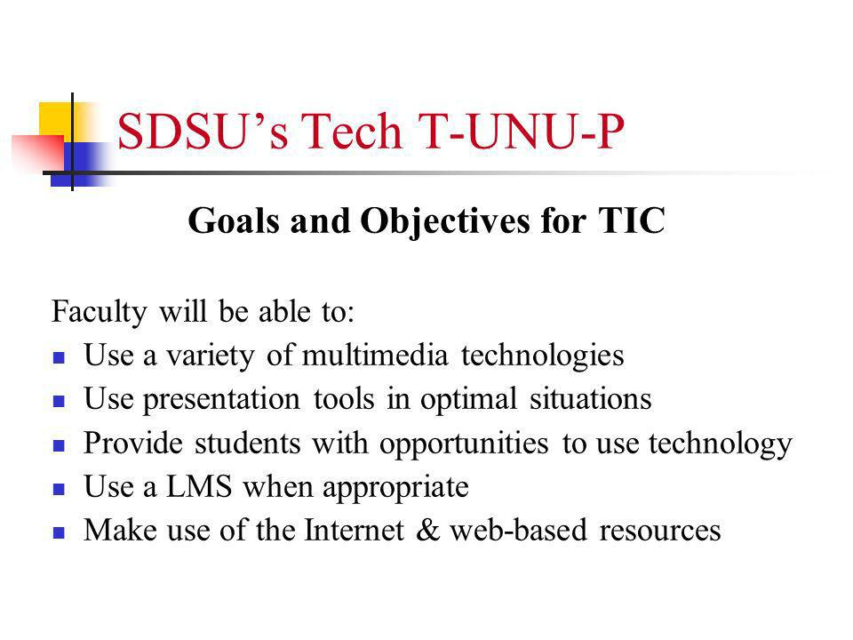 SDSUs Tech T-UNU-P Goals and Objectives for TIC Faculty will be able to: Use a variety of multimedia technologies Use presentation tools in optimal situations Provide students with opportunities to use technology Use a LMS when appropriate Make use of the Internet & web-based resources
