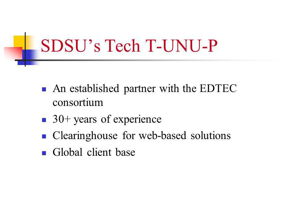 SDSUs Tech T-UNU-P An established partner with the EDTEC consortium 30+ years of experience Clearinghouse for web-based solutions Global client base