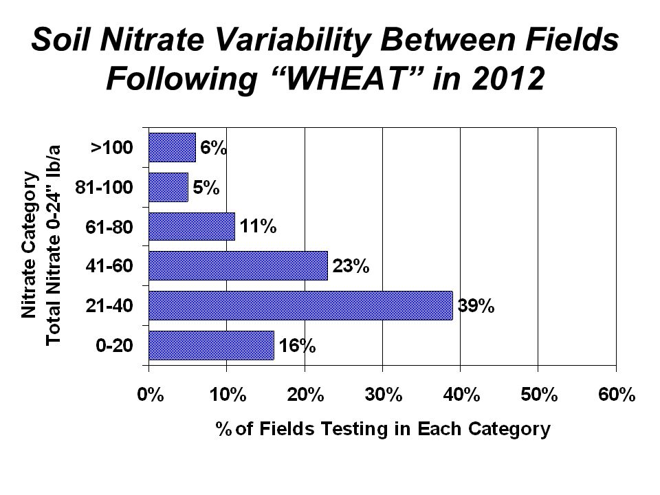 Soil Nitrate Variability Between Fields Following WHEAT in 2012