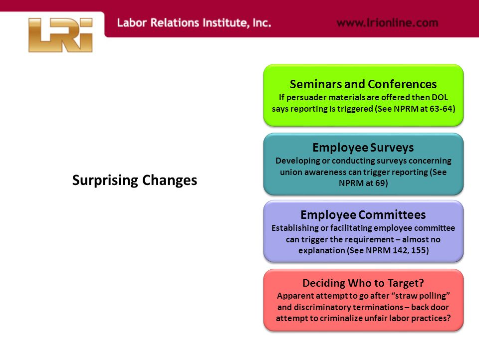 Seminars and Conferences If persuader materials are offered then DOL says reporting is triggered (See NPRM at 63-64) Seminars and Conferences If persuader materials are offered then DOL says reporting is triggered (See NPRM at 63-64) Employee Surveys Developing or conducting surveys concerning union awareness can trigger reporting (See NPRM at 69) Employee Surveys Developing or conducting surveys concerning union awareness can trigger reporting (See NPRM at 69) Employee Committees Establishing or facilitating employee committee can trigger the requirement – almost no explanation (See NPRM 142, 155) Employee Committees Establishing or facilitating employee committee can trigger the requirement – almost no explanation (See NPRM 142, 155) Deciding Who to Target.