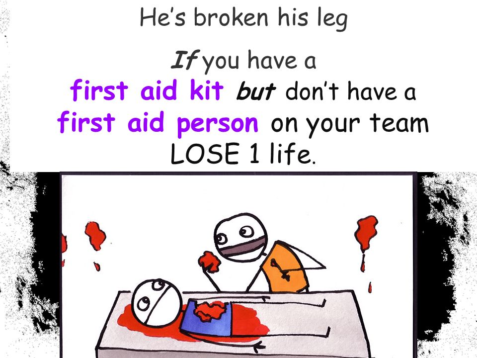 Hes broken his leg If you have a first aid kit but dont have a first aid person on your team LOSE 1 life.