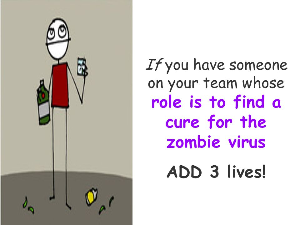 If you have someone on your team whose role is to find a cure for the zombie virus ADD 3 lives!