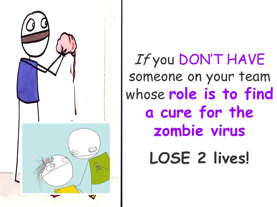 If you DONT HAVE someone on your team whose role is to find a cure for the zombie virus LOSE 2 lives!