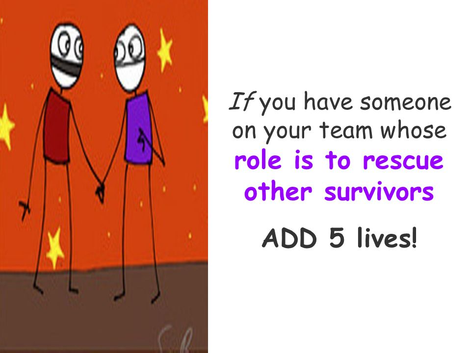 If you have someone on your team whose role is to rescue other survivors ADD 5 lives!