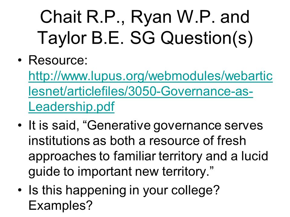 Chait R.P., Ryan W.P. and Taylor B.E.