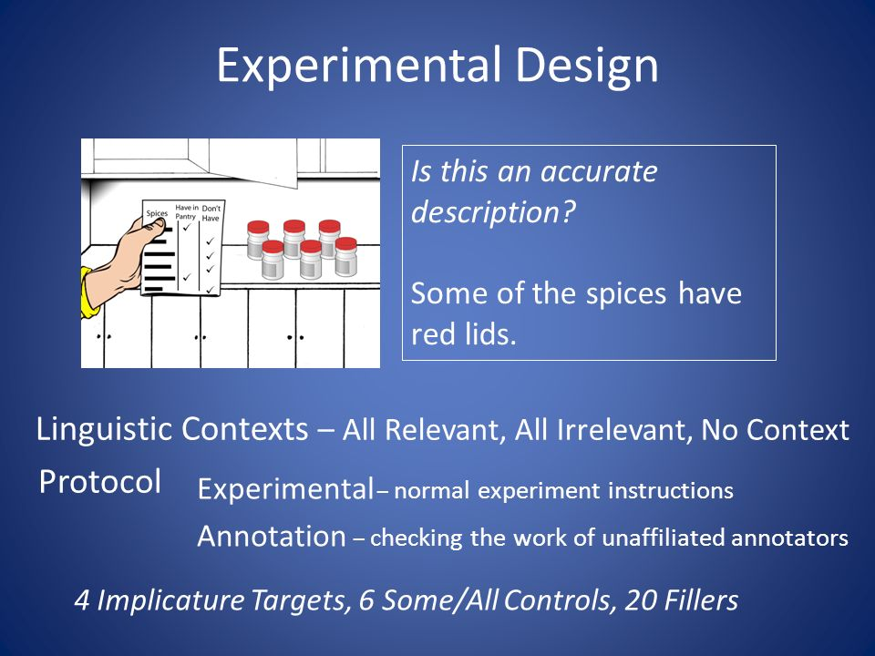 Experimental Design Is this an accurate description.