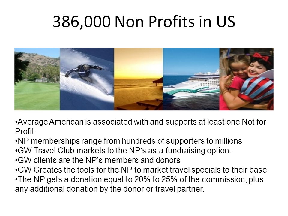 386,000 Non Profits in US Average American is associated with and supports at least one Not for Profit NP memberships range from hundreds of supporters to millions GW Travel Club markets to the NPs as a fundraising option.