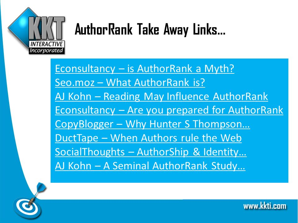 AuthorRank Take Away Links… Econsultancy – is AuthorRank a Myth.