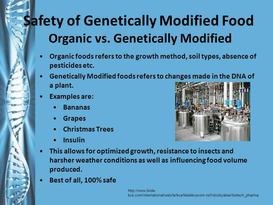 Safety of Genetically Modified Food Organic vs.