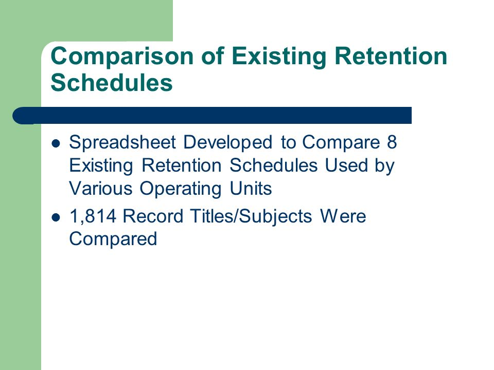 Comparison of Existing Retention Schedules Spreadsheet Developed to Compare 8 Existing Retention Schedules Used by Various Operating Units 1,814 Record Titles/Subjects Were Compared