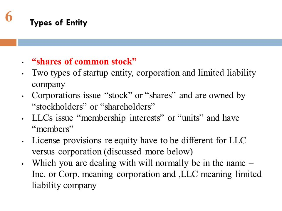 6 shares of common stock Two types of startup entity, corporation and limited liability company Corporations issue stock or shares and are owned by stockholders or shareholders LLCs issue membership interests or units and have members License provisions re equity have to be different for LLC versus corporation (discussed more below) Which you are dealing with will normally be in the name – Inc.