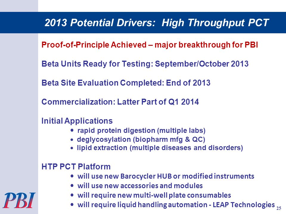 2013 Potential Drivers: High Throughput PCT Proof-of-Principle Achieved – major breakthrough for PBI Beta Units Ready for Testing: September/October 2013 Beta Site Evaluation Completed: End of 2013 Commercialization: Latter Part of Q Initial Applications rapid protein digestion (multiple labs) deglycosylation (biopharm mfg & QC) lipid extraction (multiple diseases and disorders) HTP PCT Platform will use new Barocycler HUB or modified instruments will use new accessories and modules will require new multi-well plate consumables will require liquid handling automation - LEAP Technologies 25