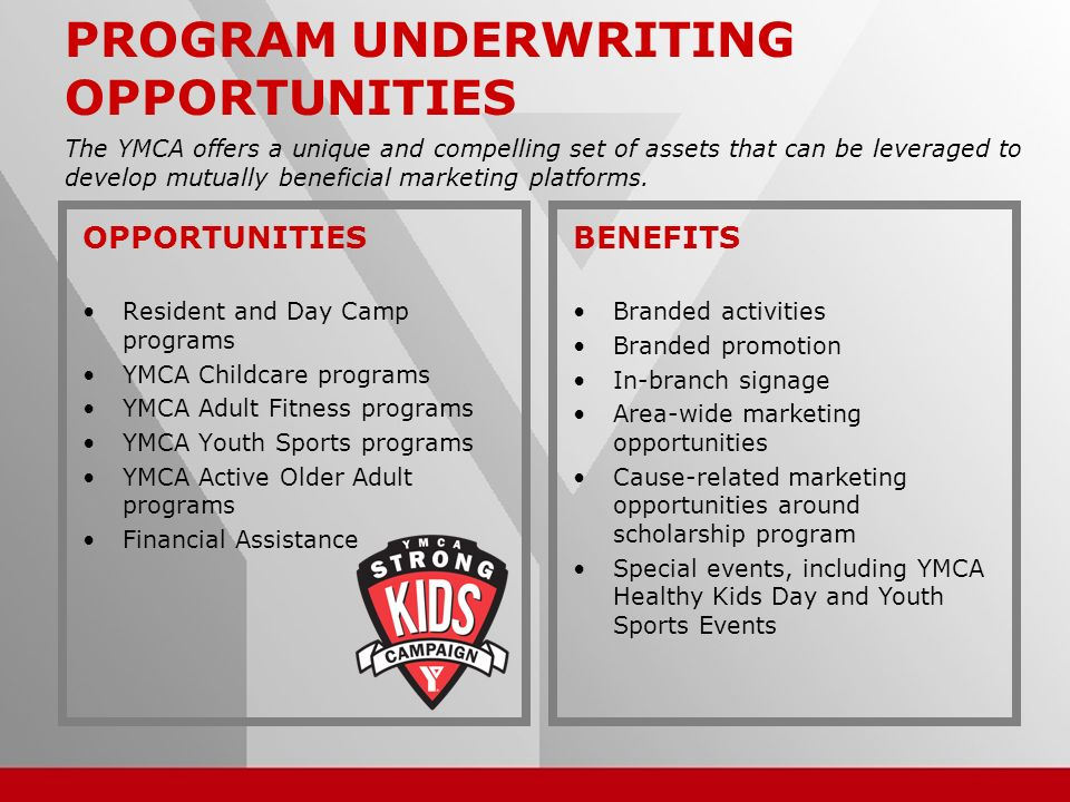 14 PROGRAM UNDERWRITING OPPORTUNITIES OPPORTUNITIES Resident and Day Camp programs YMCA Childcare programs YMCA Adult Fitness programs YMCA Youth Sports programs YMCA Active Older Adult programs Financial Assistance The YMCA offers a unique and compelling set of assets that can be leveraged to develop mutually beneficial marketing platforms.