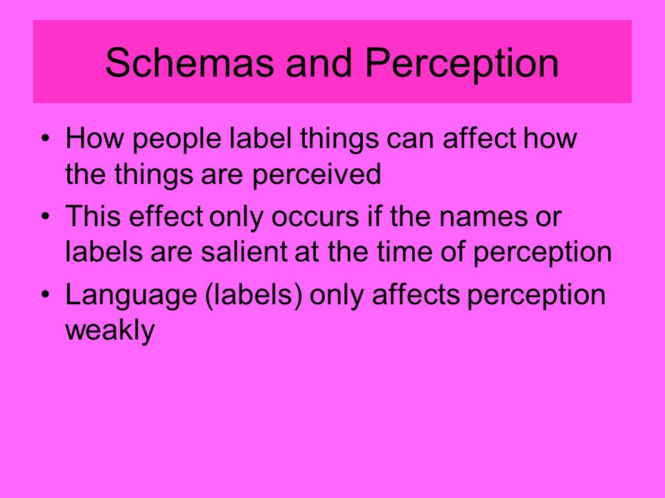 Schemas and Perception How people label things can affect how the things are perceived This effect only occurs if the names or labels are salient at the time of perception Language (labels) only affects perception weakly