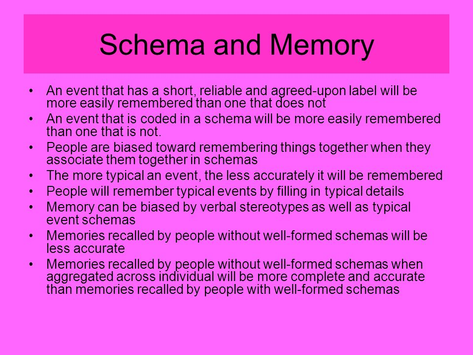 Schema and Memory An event that has a short, reliable and agreed-upon label will be more easily remembered than one that does not An event that is coded in a schema will be more easily remembered than one that is not.