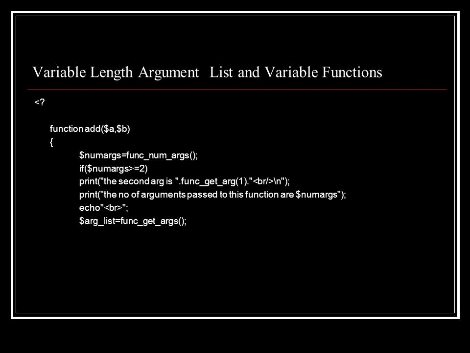 Variable Length Argument List and Variable Functions <.