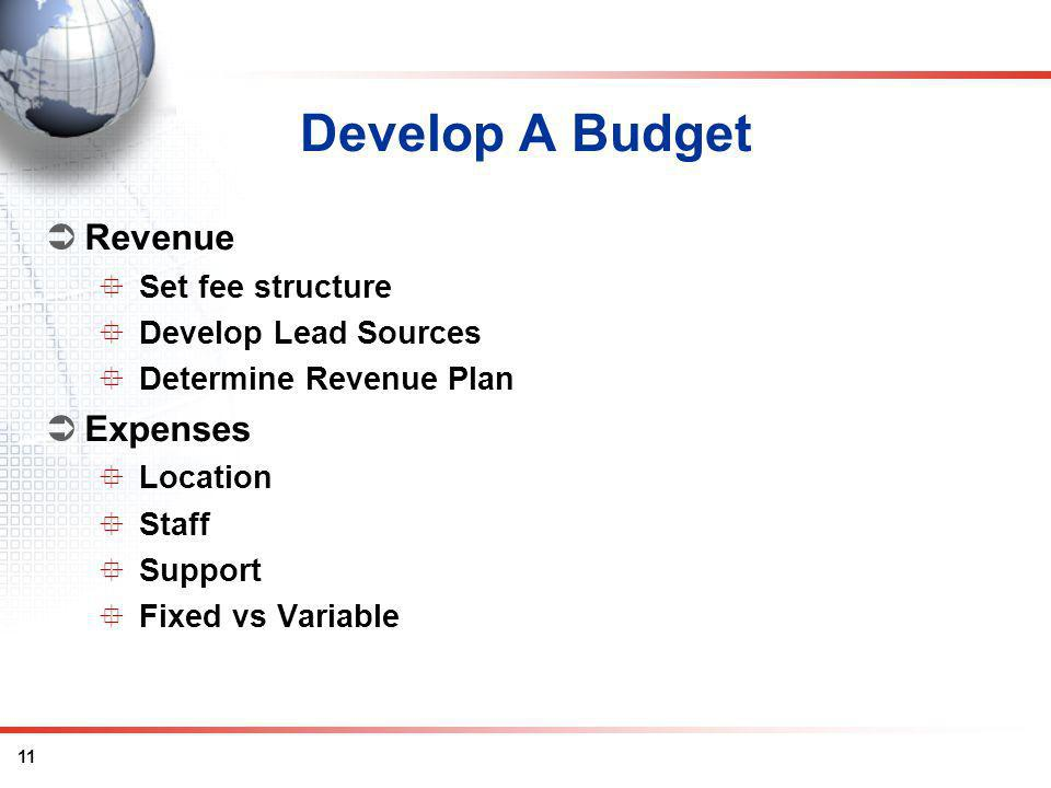 11 Develop A Budget Revenue Set fee structure Develop Lead Sources Determine Revenue Plan Expenses Location Staff Support Fixed vs Variable