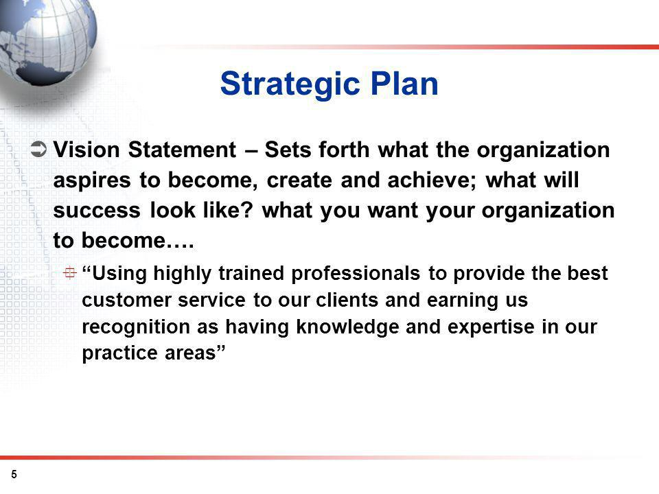 5 Strategic Plan Vision Statement – Sets forth what the organization aspires to become, create and achieve; what will success look like.
