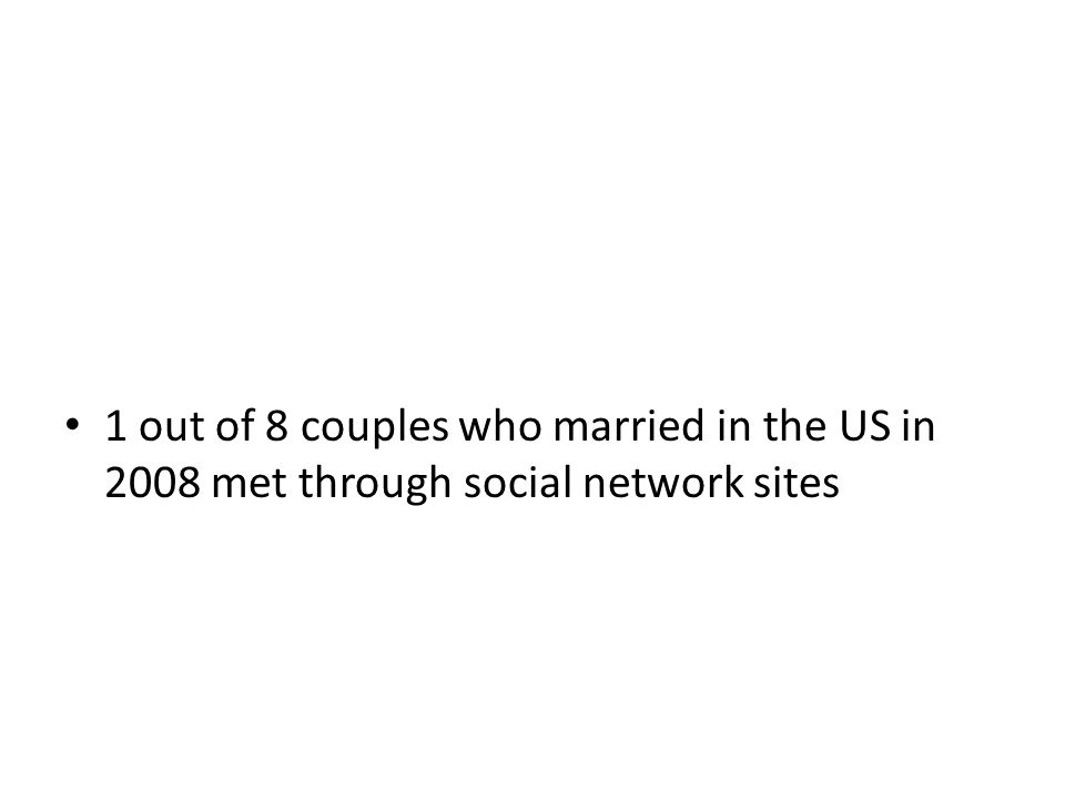 1 out of 8 couples who married in the US in 2008 met through social network sites