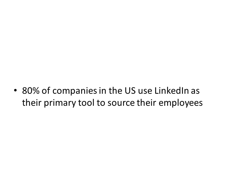 80% of companies in the US use LinkedIn as their primary tool to source their employees