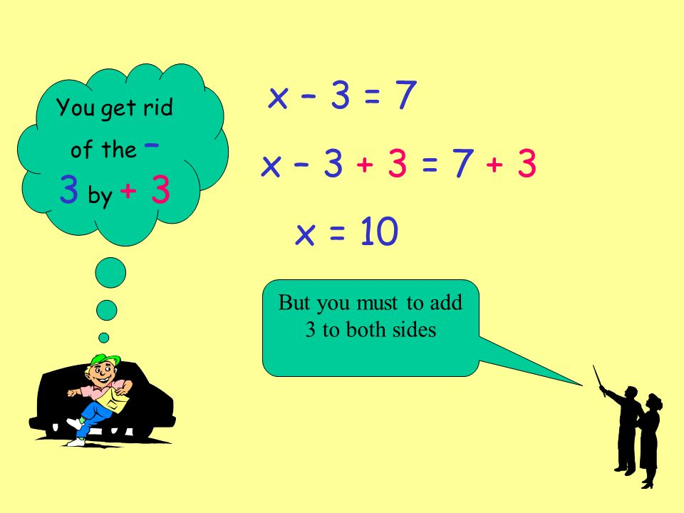 How to solve the x – 3 = 7 type of equation