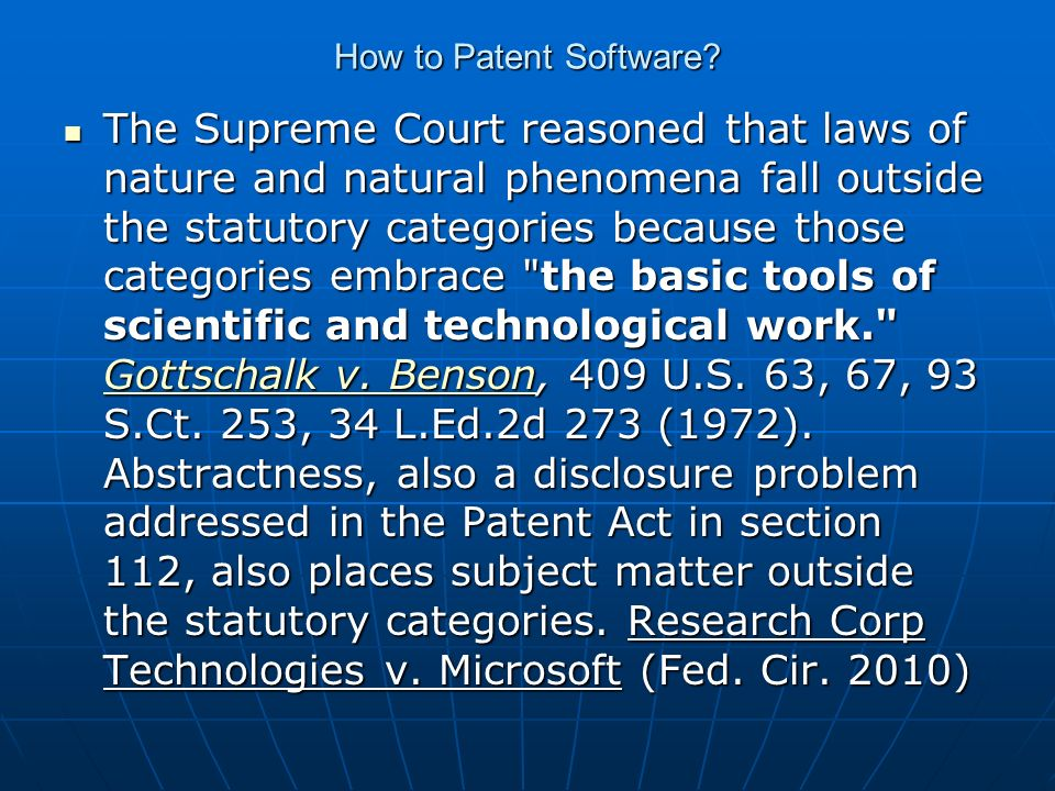 How to Patent Software.