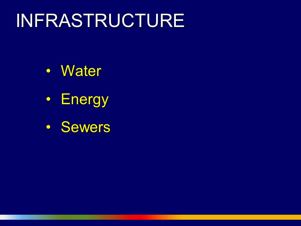 INFRASTRUCTURE WaterWater EnergyEnergy SewersSewers