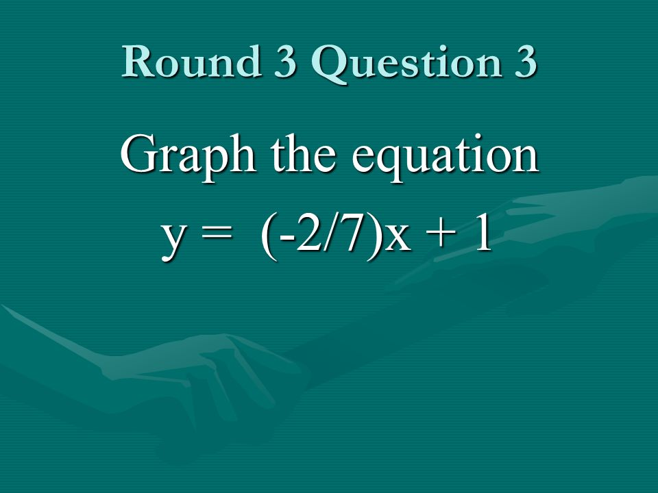 Round 3 Question 3 Graph the equation y = (-2/7)x + 1