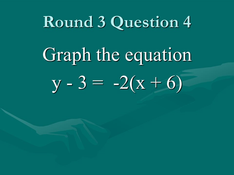 Round 3 Question 4 Graph the equation y - 3 = -2(x + 6)