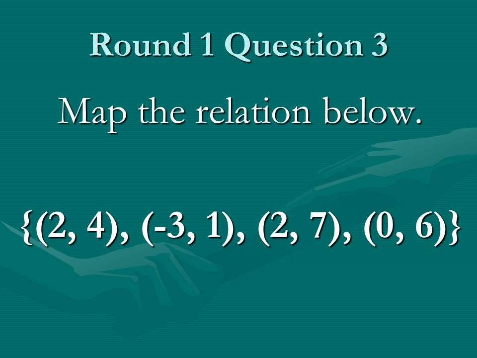 Round 1 Question 3 Map the relation below. {(2, 4), (-3, 1), (2, 7), (0, 6)}