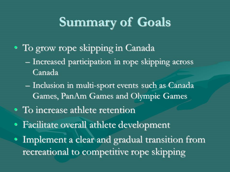 Summary of Goals To grow rope skipping in CanadaTo grow rope skipping in Canada –Increased participation in rope skipping across Canada –Inclusion in multi-sport events such as Canada Games, PanAm Games and Olympic Games To increase athlete retentionTo increase athlete retention Facilitate overall athlete developmentFacilitate overall athlete development Implement a clear and gradual transition from recreational to competitive rope skippingImplement a clear and gradual transition from recreational to competitive rope skipping