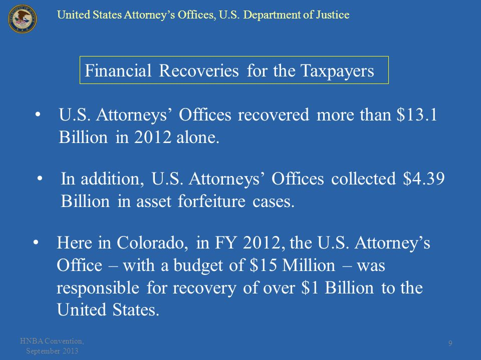 9 HNBA Convention, September 2013 Financial Recoveries for the Taxpayers Here in Colorado, in FY 2012, the U.S.