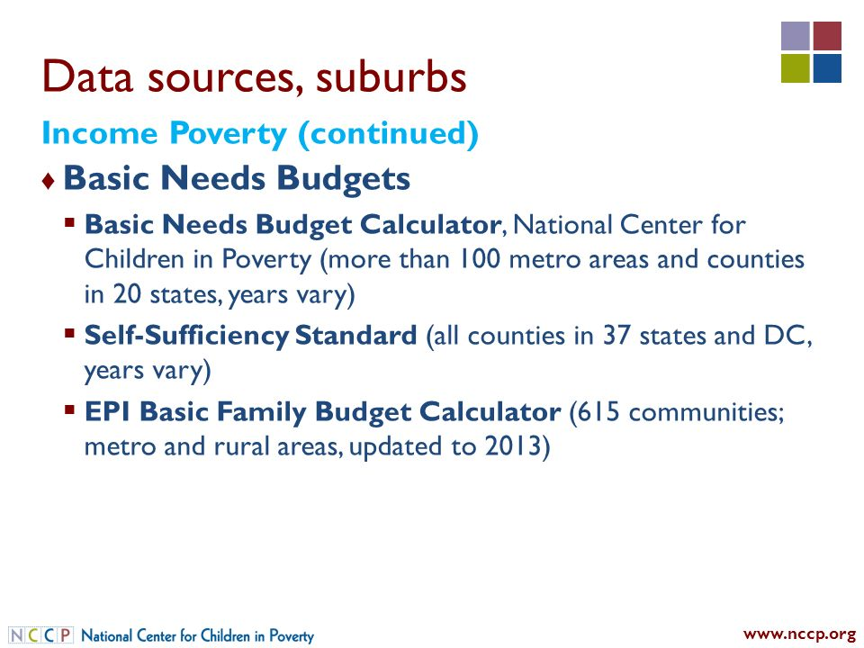 Data sources, suburbs Basic Needs Budgets Basic Needs Budget Calculator, National Center for Children in Poverty (more than 100 metro areas and counties in 20 states, years vary) Self-Sufficiency Standard (all counties in 37 states and DC, years vary) EPI Basic Family Budget Calculator (615 communities; metro and rural areas, updated to 2013) Income Poverty (continued)