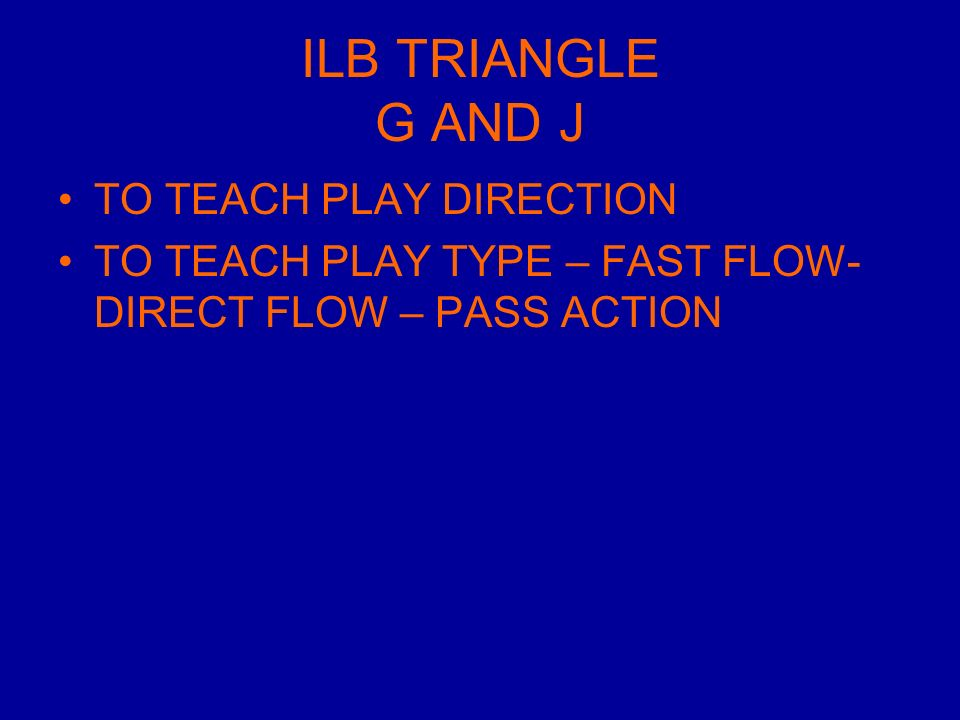 ILB TRIANGLE G AND J TO TEACH PLAY DIRECTION TO TEACH PLAY TYPE – FAST FLOW- DIRECT FLOW – PASS ACTION