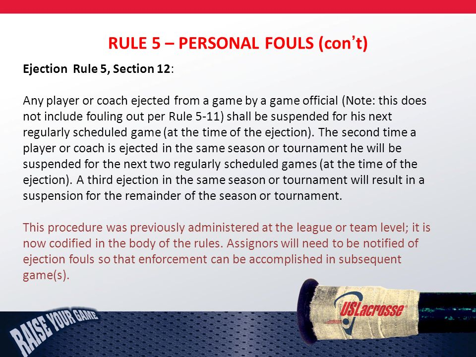 RULE 5 – PERSONAL FOULS (cont) Ejection Rule 5, Section 12: Any player or coach ejected from a game by a game official (Note: this does not include fouling out per Rule 5-11) shall be suspended for his next regularly scheduled game (at the time of the ejection).