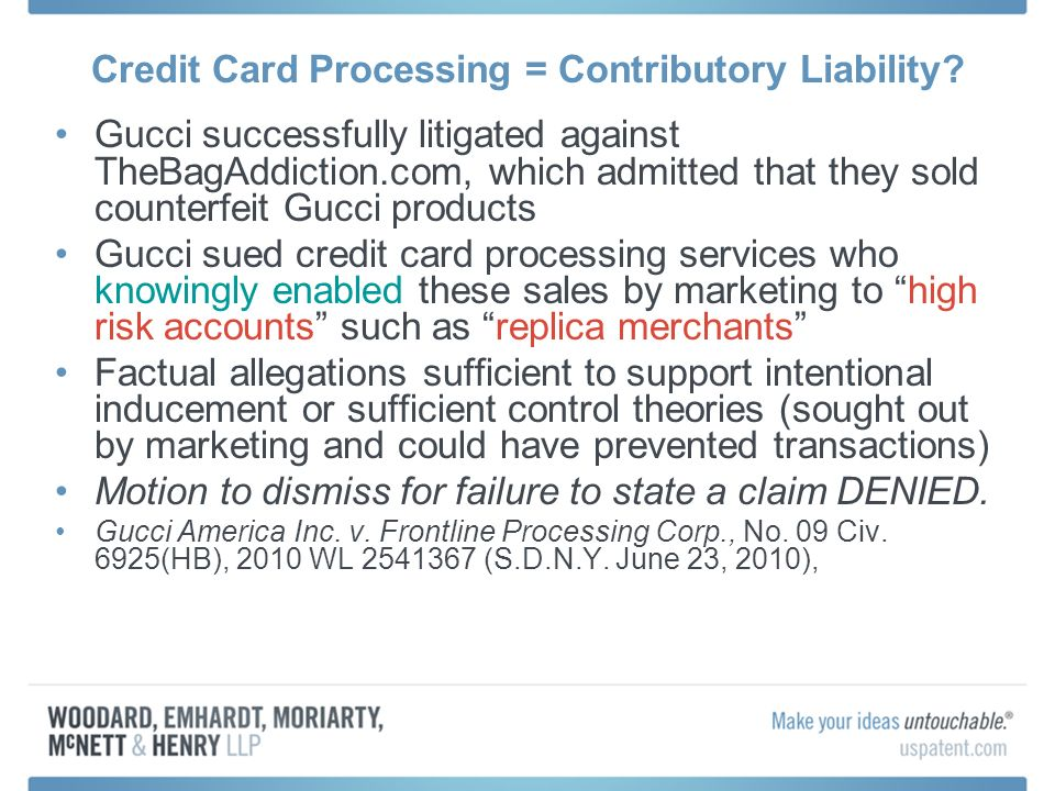 Credit Card Processing = Contributory Liability.