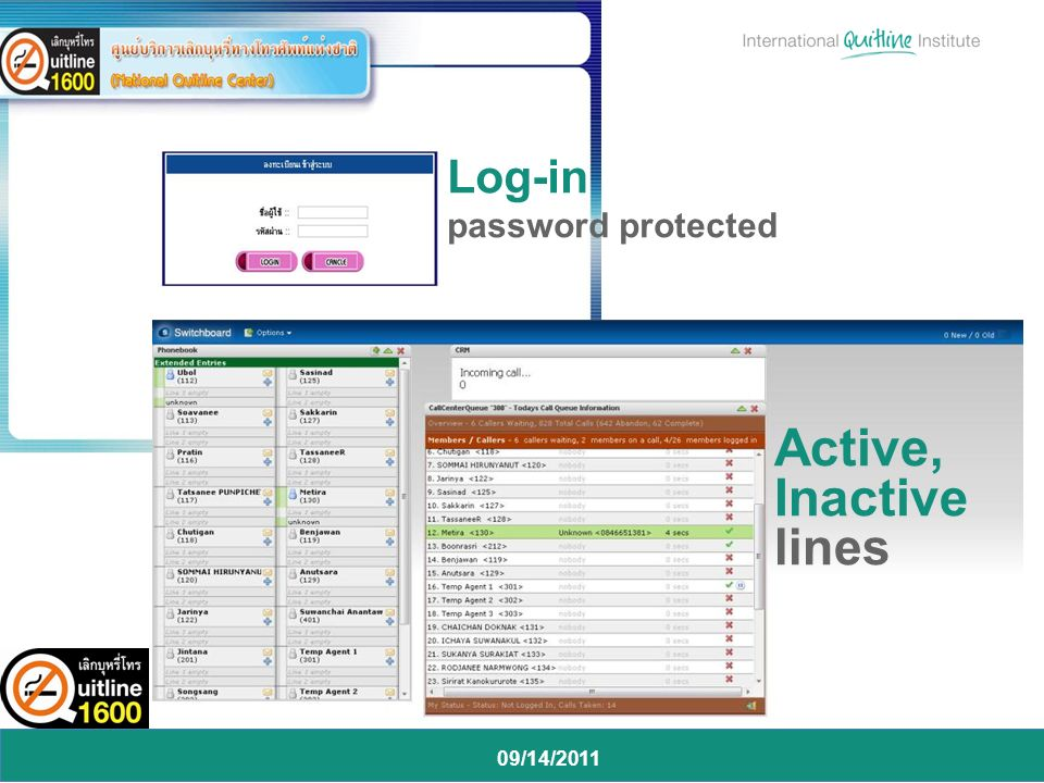 09/14/2011 Log-in password protected Active, Inactive lines