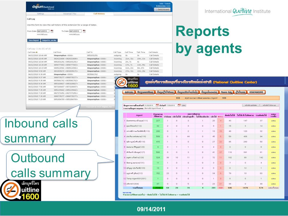 09/14/2011 Reports by agents Inbound calls summary Outbound calls summary
