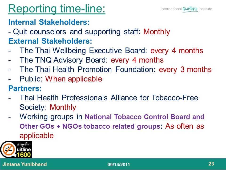 09/14/2011 Reporting time-line: Jintana Yunibhand 23 Internal Stakeholders: - Quit counselors and supporting staff: Monthly External Stakeholders: -The Thai Wellbeing Executive Board: every 4 months -The TNQ Advisory Board: every 4 months -The Thai Health Promotion Foundation: every 3 months -Public: When applicable Partners: -Thai Health Professionals Alliance for Tobacco-Free Society: Monthly -Working groups in National Tobacco Control Board and Other GOs + NGOs tobacco related groups : As often as applicable