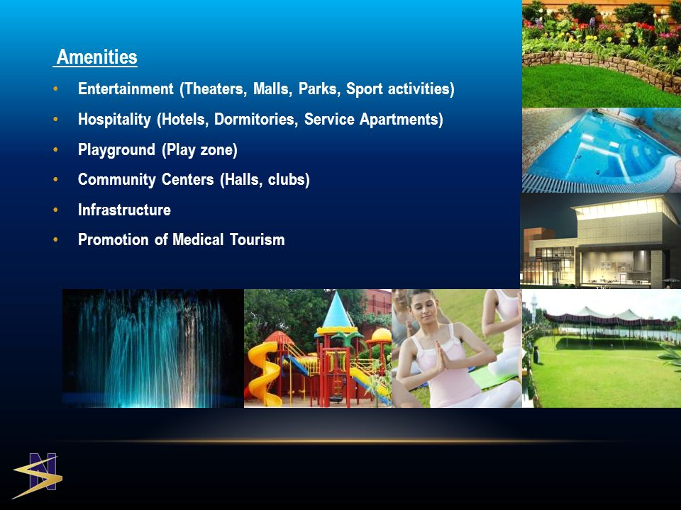 Amenities Entertainment (Theaters, Malls, Parks, Sport activities) Hospitality (Hotels, Dormitories, Service Apartments) Playground (Play zone) Community Centers (Halls, clubs) Infrastructure Promotion of Medical Tourism