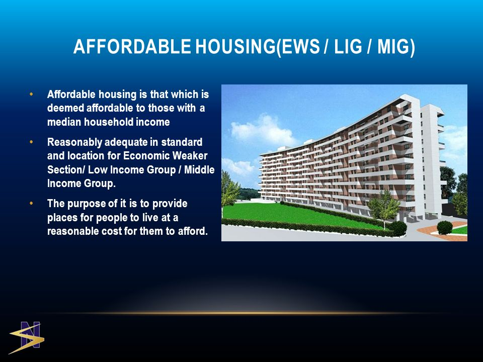 Affordable housing is that which is deemed affordable to those with a median household income Reasonably adequate in standard and location for Economic Weaker Section/ Low Income Group / Middle Income Group.