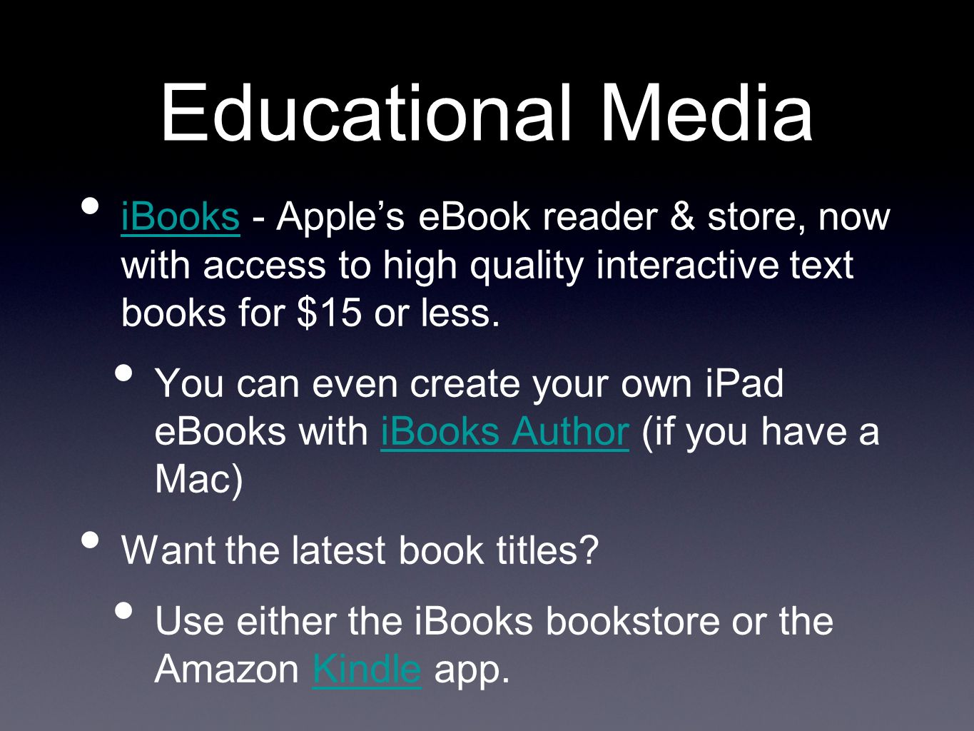 Educational Media iBooks - Apples eBook reader & store, now with access to high quality interactive text books for $15 or less.