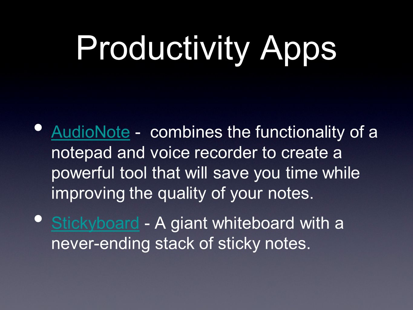 Productivity Apps AudioNote - combines the functionality of a notepad and voice recorder to create a powerful tool that will save you time while improving the quality of your notes.