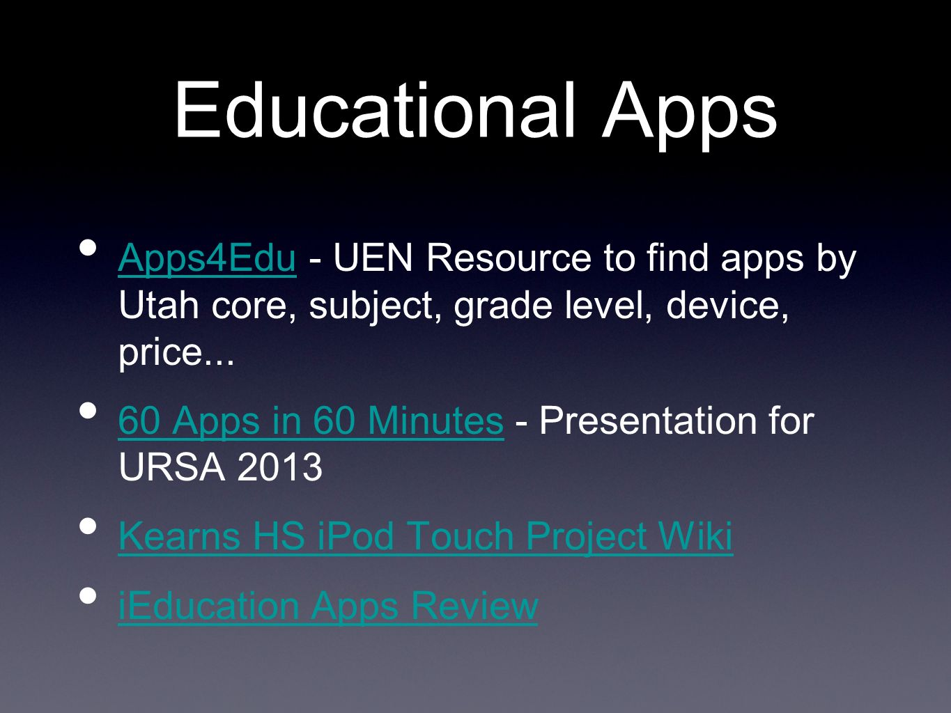 Educational Apps Apps4Edu - UEN Resource to find apps by Utah core, subject, grade level, device, price...