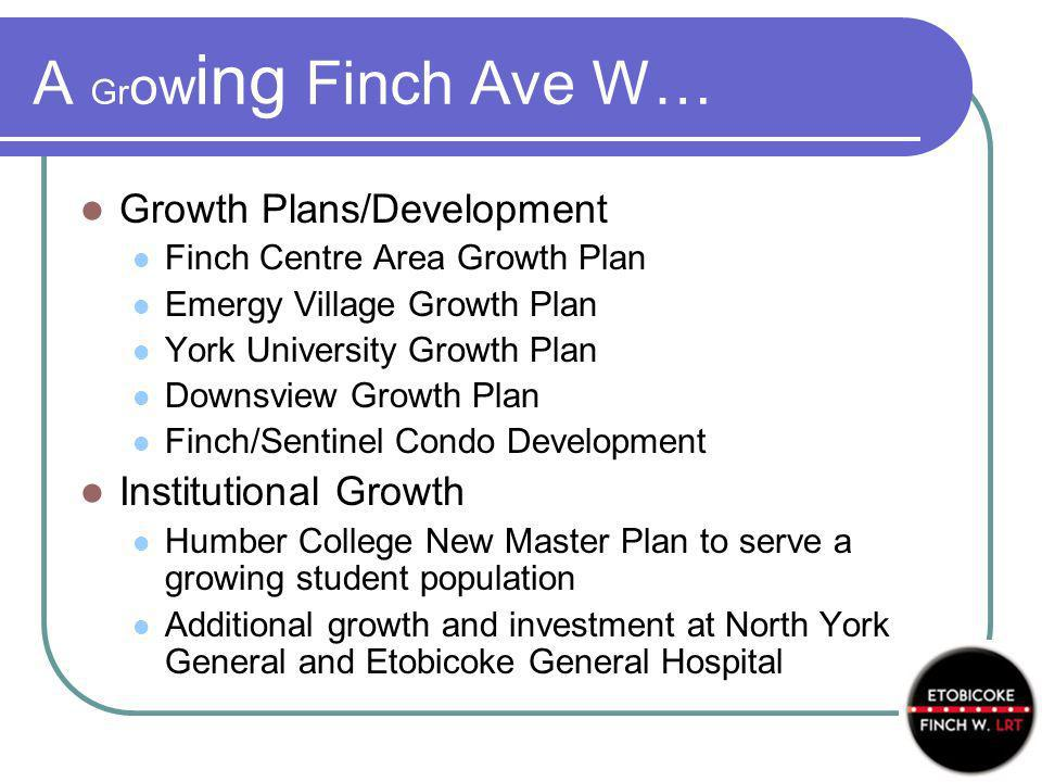 A Gr ow ing Finch Ave W… Growth Plans/Development Finch Centre Area Growth Plan Emergy Village Growth Plan York University Growth Plan Downsview Growth Plan Finch/Sentinel Condo Development Institutional Growth Humber College New Master Plan to serve a growing student population Additional growth and investment at North York General and Etobicoke General Hospital