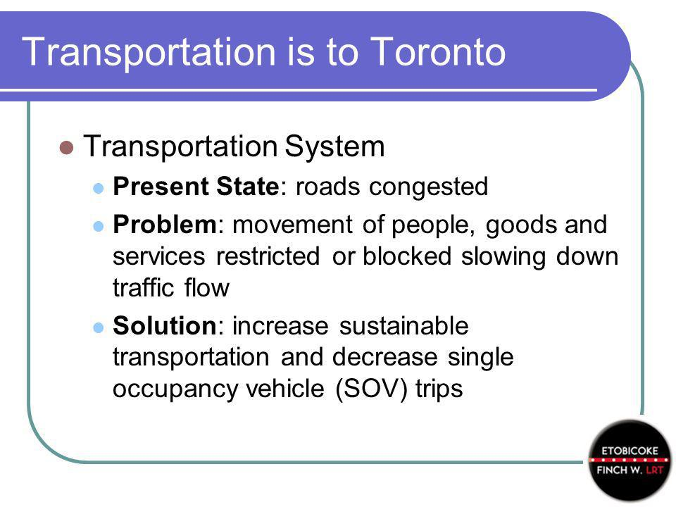 Transportation is to Toronto Transportation System Present State: roads congested Problem: movement of people, goods and services restricted or blocked slowing down traffic flow Solution: increase sustainable transportation and decrease single occupancy vehicle (SOV) trips