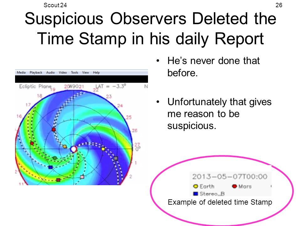 Scout 2426 Suspicious Observers Deleted the Time Stamp in his daily Report Hes never done that before.