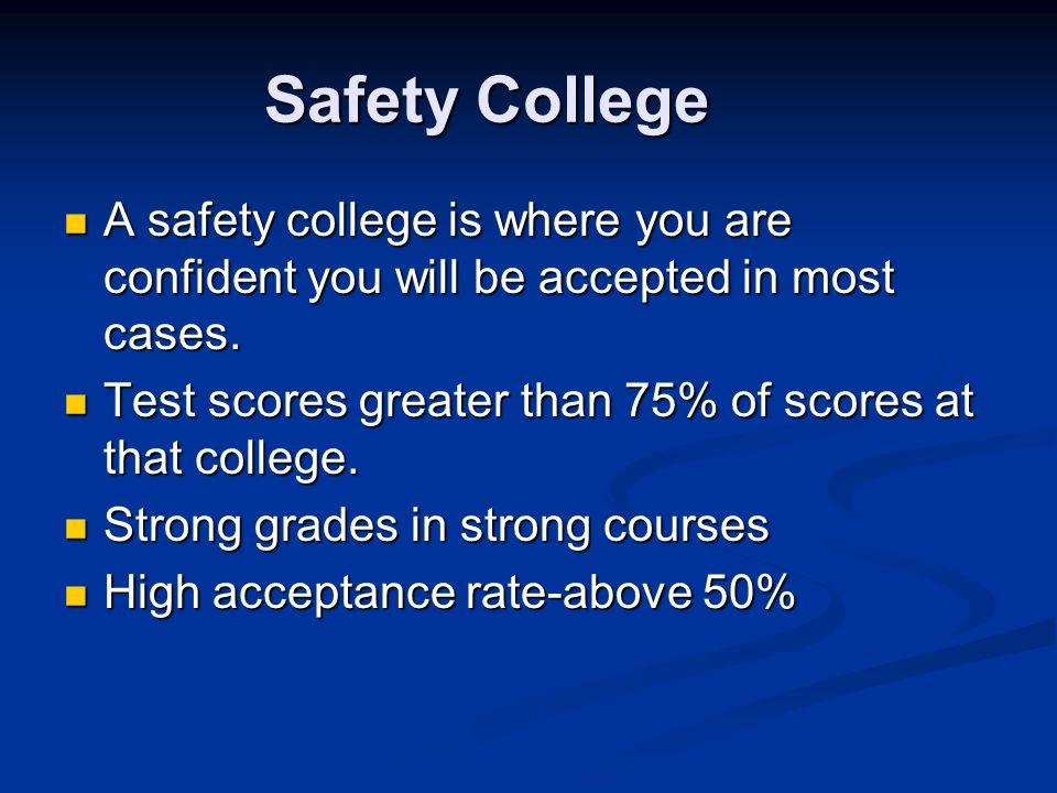 Safety College A safety college is where you are confident you will be accepted in most cases.